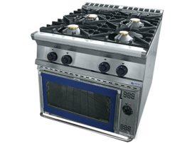 GT4.98 GES gáztűzhely 4 égő + GN 2/1 elektromos sütő, MAGYAR TERMÉK!