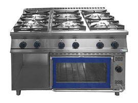 GT6.912 GES gáztűzhely 6 égő + GN 2/1 elektromos sütő, MAGYAR TERMÉK!