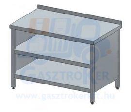 Rm.tárolóasztal, elől nyitott, hátsó peremmel, 900x700 mm