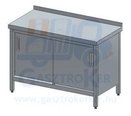 Rm.tárolóasztal, tolóajtóval, hátsó peremmel, 1000x600 mm