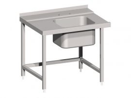 RMV BE70070 Rozsdamentes bevezető mosogatóasztal, előmosó medencével